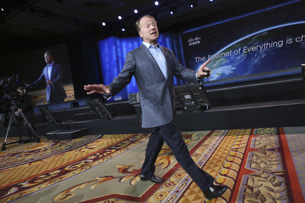 Cisco CEO John Chambers walks the floor while delivering his keynote speech at the annual Consumer Electronics Show (CES) in Las Vegas earlier this year. Credit: Reuters