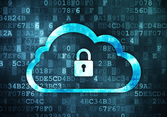 Digital cloud with padlock in the center