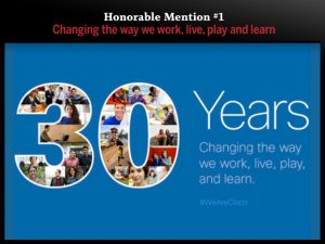 Honorable Mention #1 — Changing the way we work, live, play and learn